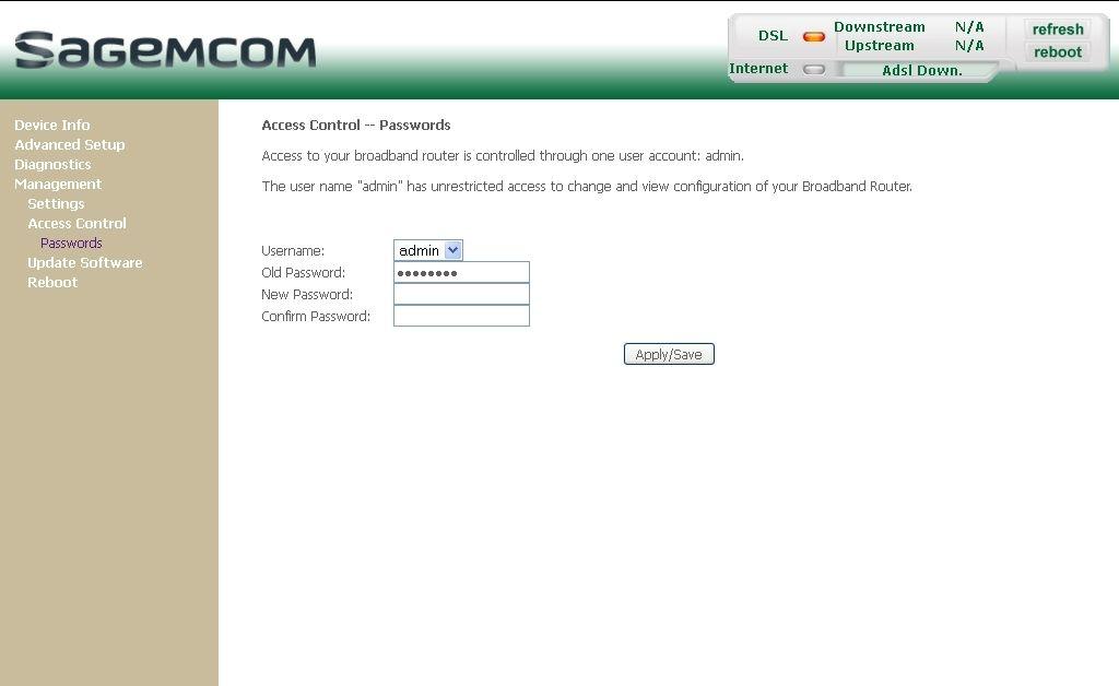 Sagemcom router password